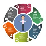 6 step vector element in six colors with labels, infographic diagram. Business concept of 6 steps or options with businessman.  stock illustration