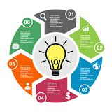 6 step vector element in six colors with labels, infographic diagram. Business concept of 6 steps or options with light bulb.  stock illustration