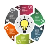 6 step vector element in six colors with labels, infographic diagram. Business concept of 6 steps or options with light bulb.  vector illustration