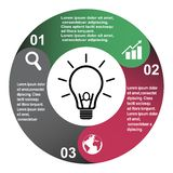 3 step vector element in three colors with labels, infographic diagram. Business concept of 3 steps or options with bulb.  vector illustration