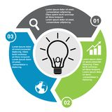 3 step vector element in three colors with labels, infographic diagram. Business concept of 3 steps or options with bulb new.  stock illustration
