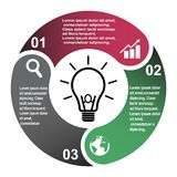 3 step vector element in three colors with labels, infographic diagram. Business concept of 3 steps or options with bulb.  royalty free illustration