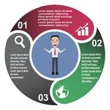 3 step vector element in three colors with labels, infographic diagram. Business concept of 3 steps or options with businessman.  royalty free illustration