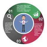3 step vector element in three colors with labels, infographic diagram. Business concept of 3 steps or options with businessman.  vector illustration