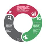 3 step vector element in three colors with labels, infographic diagram. Business concept of 3 steps or options with empty.  stock illustration