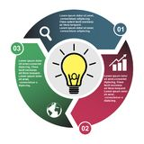 3 step vector element in three colors with labels, infographic diagram. Business concept of 3 steps or options with light bulb.  stock illustration