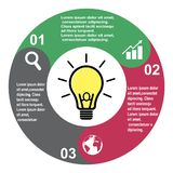3 step vector element in three colors with labels, infographic diagram. Business concept of 3 steps or options with light bulb.  vector illustration
