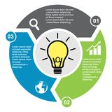 3 step vector element in three colors with labels, infographic diagram. Business concept of 3 steps or options with light bulb n. Ew stock illustration