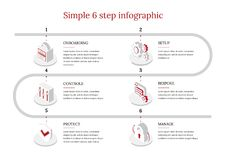6-Step Vector Infographic. Vector Infographic label design with icons and 6 options or steps. Infographics for business concept. Can be used for presentations Stock Photos
