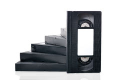 Step of the videotapes on a white background Royalty Free Stock Photography