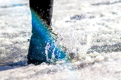 Step into water. At the street at winter royalty free stock photo