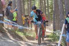 STEPAHANE TEMPIER FRA in the MERCEDES-BENZ UCI MTB WORLD CUP 2019 - XCO Vallnord, Andorra on July 2019 royalty free stock photo