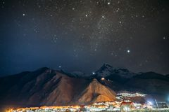 Stepantsminda, Georgia. Natural Night Starry Sky With Glowing St stock image