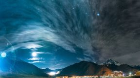 Stepantsminda, Georgia. Night Starry Sky Above Beautiful Georgia stock photo