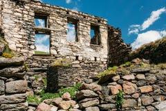 Stepantsminda Gergeti, Georgia. Old Abandoned Dilapidated Ruined. House In Village. Kazbegi District, Mtskheta-Mtianeti Region, Georgia. Spring Or Summer Season Royalty Free Stock Image