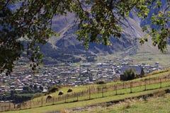 Stepantsminda town in September (Georgia) Royalty Free Stock Images