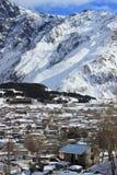 Stepantsminda town in winter Stock Image
