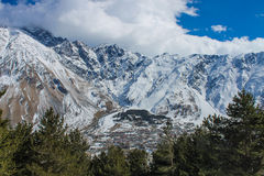 Stepantsminda view near the mountains Royalty Free Stock Photography