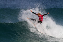 Steph Gilmore. World surfing circuit in Portugal Stock Photos