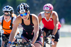 Steph Neufeld in the Coeur d' Alene Ironman cycling event Stock Photography