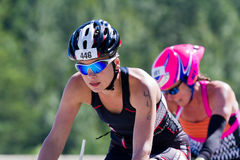 Steph Neufeld in the Coeur d' Alene Ironman cycling event Stock Photo