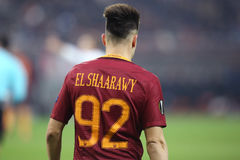 Stephan El Shaarawy from behind. Stephan Kareem El-Shaarawy, player of AS Roma, pictured during the Europa League match against Astra Giurgiu, 0-0 the final Stock Image