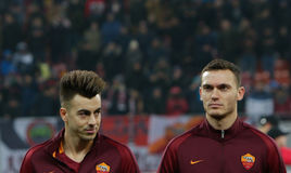STEPHAN EL SHAARAWY and THOMAS VERMAELEN. AS Roma`s Stephan El Shaarawy  L  and Thomas Vermaelen pictured before a soccer match Astra Giurgiu - AS Roma, played Royalty Free Stock Images