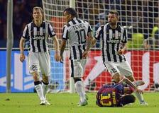 Stephan Lichsteiner, Carlos Tevez, Andrea Barzagli and Neymar Stock Image