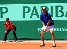 Stephane Robert entgegengesetzt Berdych Roland Garros Stockfotografie