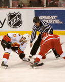 Stephane Yelle Faces Off Against Jiri Hudler Foto de archivo libre de regalías