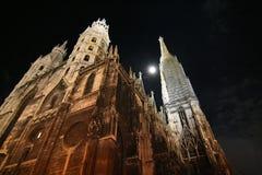Stephansdom bij nacht Stock Afbeeldingen