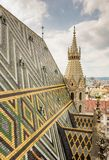 Stephansdom cathedral and aerial view over Vienna Royalty Free Stock Photography