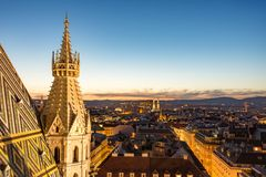 Stephansdom cathedral and aerial view over Vienna at night Royalty Free Stock Images