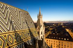Stephansdom cathedral and aerial view over Vienna at night Stock Images