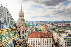 Stephansdom cathedral and aerial view over Vienna Royalty Free Stock Photo