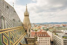 Stephansdom cathedral and aerial view over Vienna Royalty Free Stock Image