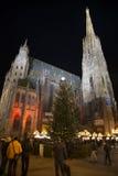 Stephansdom nachts in der Weihnachtszeit Lizenzfreie Stockbilder