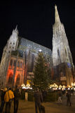 Stephansdom at night in Christmas time Royalty Free Stock Images