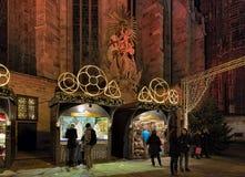 Stephansplatz圣诞节市场在维也纳,奥地利 免版税库存照片