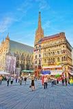 Stephansplatz的维也纳人和圣斯德望大教堂 图库摄影