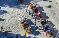Stephansplatz aglomerado em Viena, Áustria com fiakers Fotografia de Stock