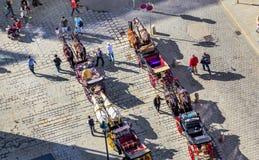 Stephansplatz aglomerado em Viena, Áustria com fiakers Fotos de Stock