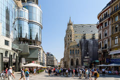 Stephansplatz fyrkant i Wien Royaltyfri Fotografi