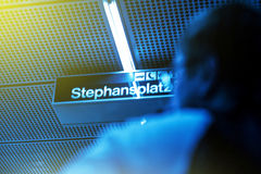 Stephansplatz metro station sign with man silhouette Royalty Free Stock Images