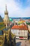 Stephansplatz at Vienna old town. From north tower of St. Stephen`s Cathedral. Vertical photo royalty free stock photo