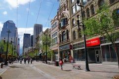 Stephen Avenue à Calgary du centre, Alberta, Canada Image stock