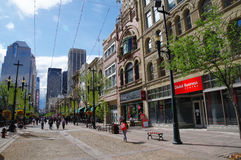 Stephen Avenue a Calgary del centro, Alberta, Canada Immagine Stock