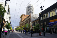 Stephen Avenue in downtown Calgary, Alberta, Can Royalty Free Stock Image