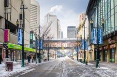 Stephen Avenue helado en Calgary en un día de invierno Fotos de archivo