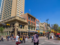 Stephen Avenue during Stampede. CALGARY, CANADA - JULY 13: Busy Stephen Avenue in Calgary during Stampede on July 13, 2014 in Calgary, Alberta Canada. This Royalty Free Stock Photography